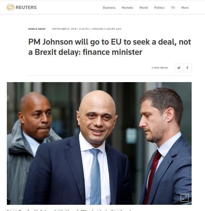 认了?!英国财政大臣:约翰逊要协议,不要迟脱欧