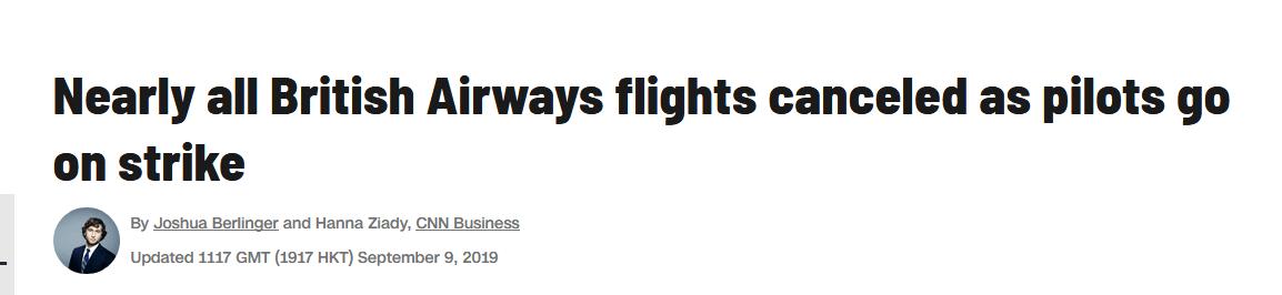 英航飞行员罢工:几乎所有航班被取消,每天将损失3.5亿
