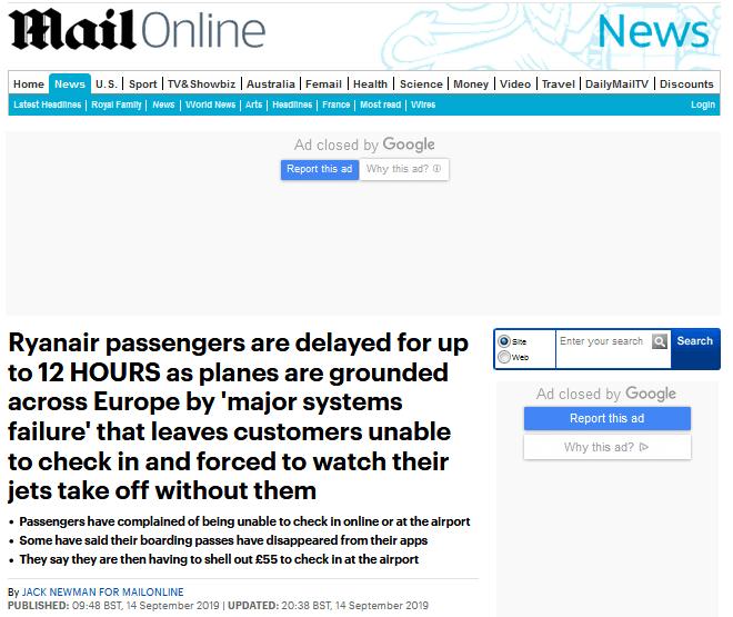 系统故障导致其欧洲各地机场航班延误,瑞安航空致歉