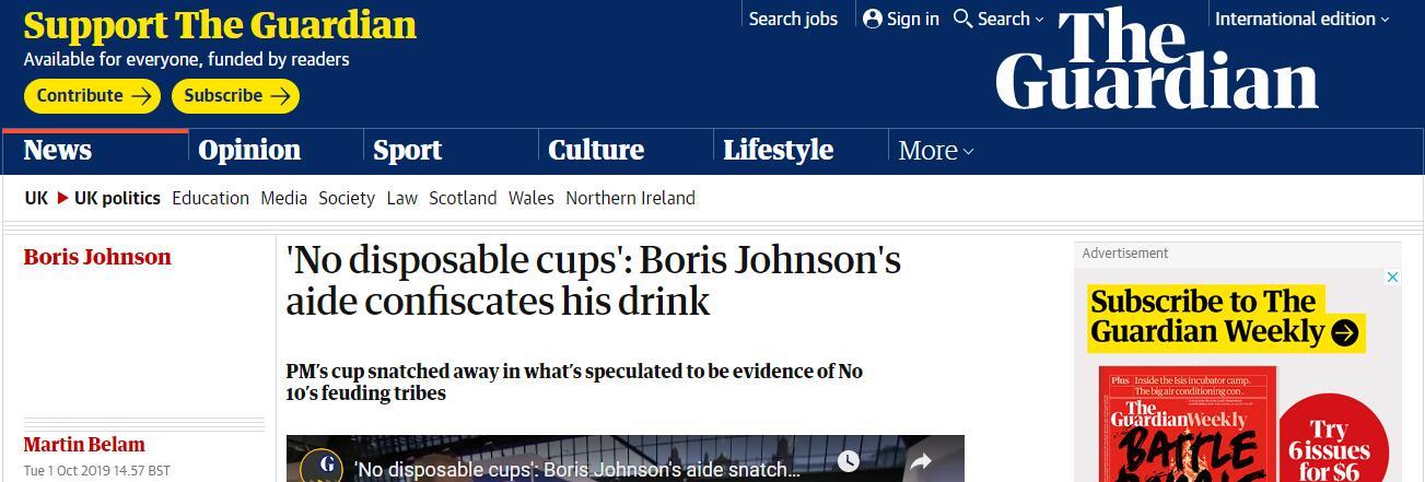 """剛到手的飲料被沒收,約翰遜還被助手""""教育"""":不許用一次性杯子"""