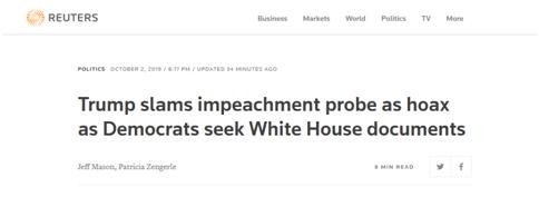 """被问及弹劾调查,特朗普愤怒大骂民主党议员""""下等人"""",还告诫记者不要""""无礼"""""""