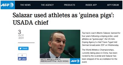 """美国田径教练违规偷运禁药被禁赛4年,反兴奋剂机构斥其把运动员当""""小白鼠"""""""