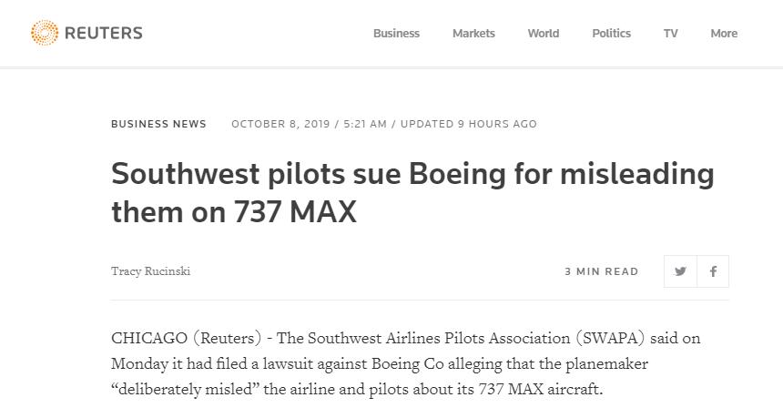 737Max停飞致薪水损失,美西南航空飞行员协会把波音告了