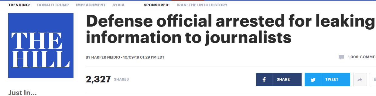 """帮约会对象""""抢首发新闻"""" ,美情报官栽了,最高判20年"""