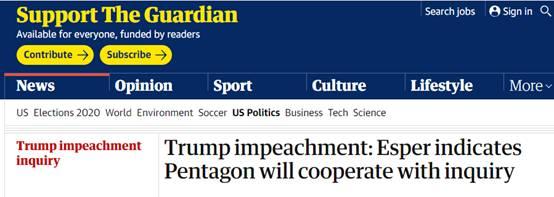 美防长:将全力配合弹劾调查,但特朗普可能插手