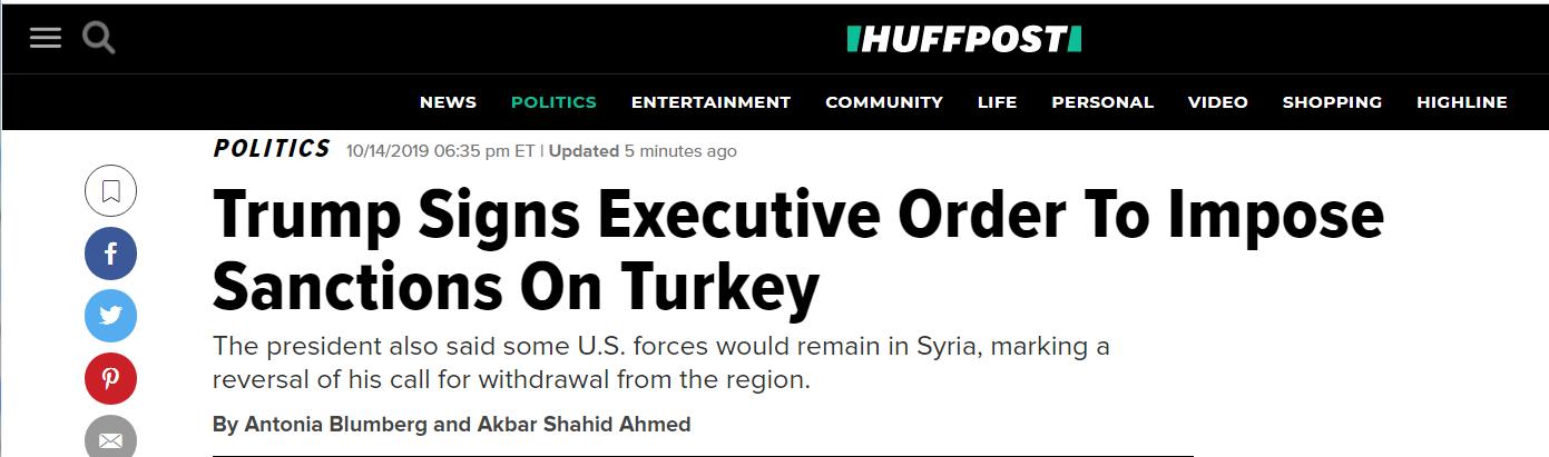 快讯!特朗普签行政令,对土耳其政府官员实施制裁