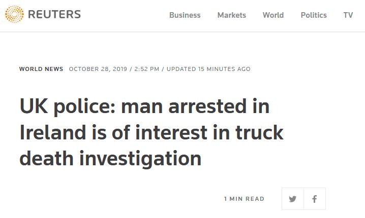"""英国警方:""""死亡货车""""案又一嫌疑人被捕"""