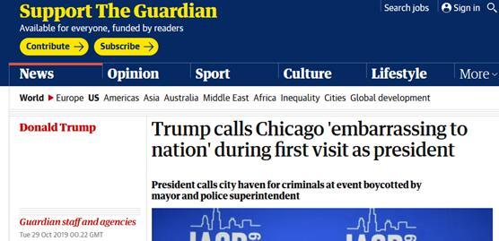 """首以总统身份访问芝加哥,特朗普""""毫不客气"""":这座城给美国""""丢脸"""""""