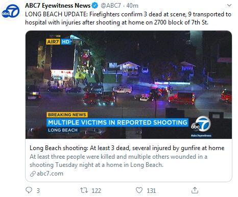 快讯!美国加州长滩一处住宅发生枪击案,至少3死9伤