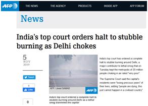 空气污染持续严重,印度最高法院下令禁止焚烧秸秆:人们正在死去