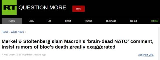 "<b>马克龙称北约已""脑死亡"",默克尔反驳:跨大西洋伙伴关系对我们来说不可或缺</b>"