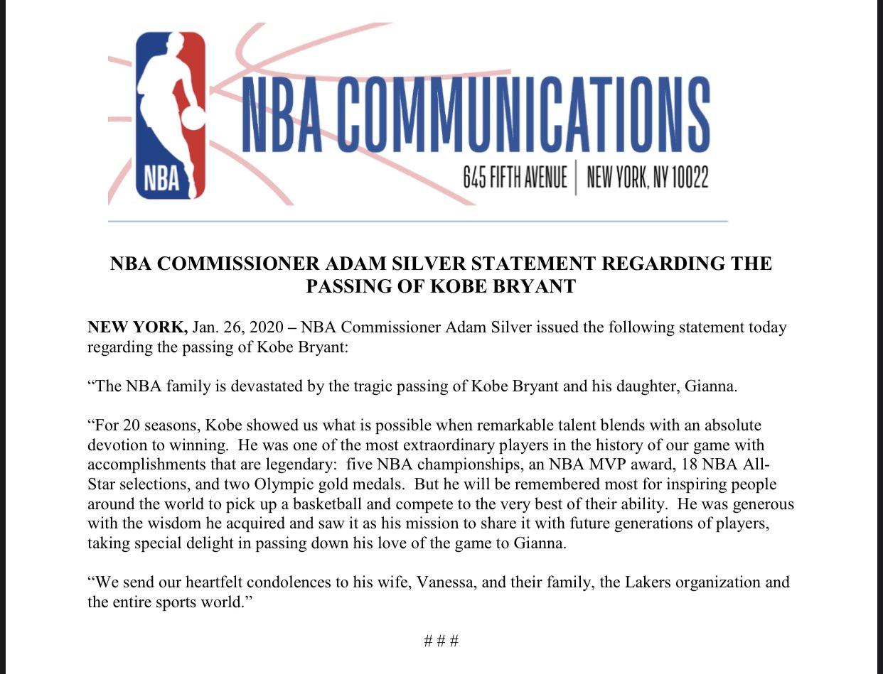 NBA总裁肖华:科比是NBA历史上最杰出的球员之一
