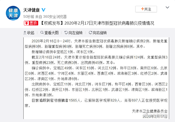 天津新增新冠肺炎确诊病例2例 累计124例