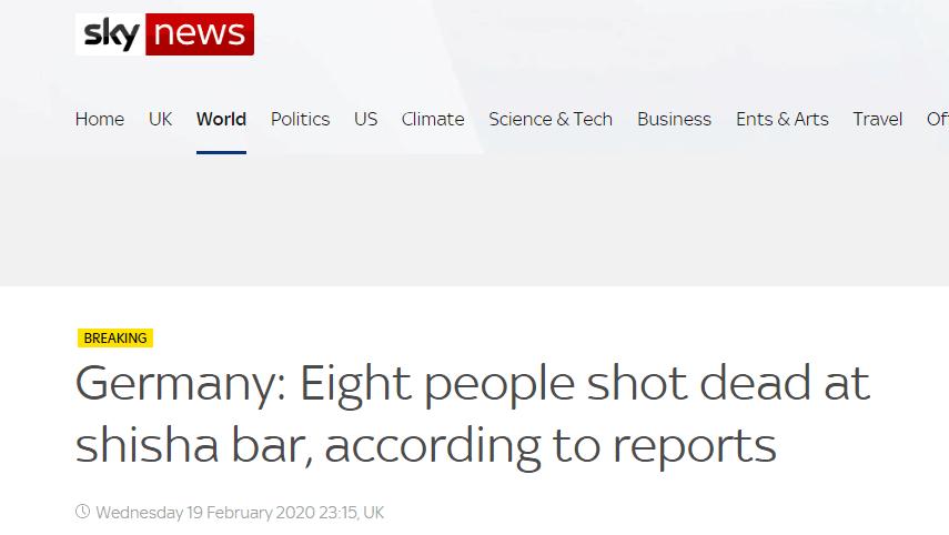 突发!德国哈瑙市发生枪击事件,造成至少8人死亡