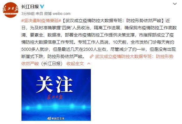 武汉成立疫情防控大数据专班:防控形势依然严峻