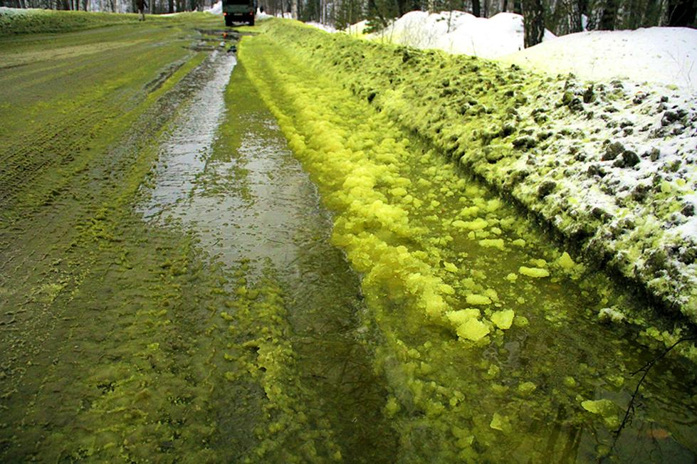 俄罗斯下绿色雪 原因竟是环境污染