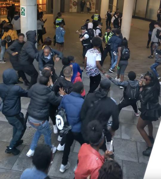 大约100名青少年用瓶子和投掷物攻击警察。