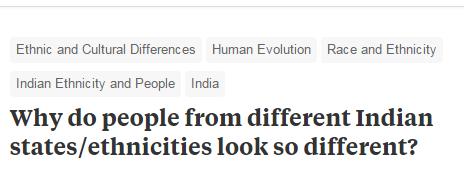 """▲""""为什么来自印度不同邦和民族的人会长得如此不同?"""""""