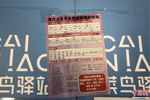 中国海洋大学崂山校区张贴的毕业邮寄优惠信息。受访者供图