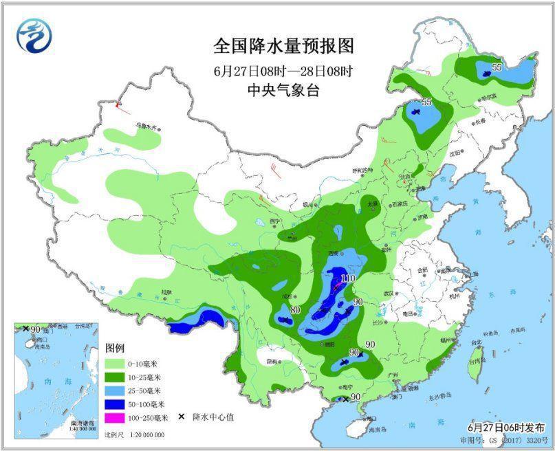 图1 全国降水量预报图(6月27日08时-28日08时)