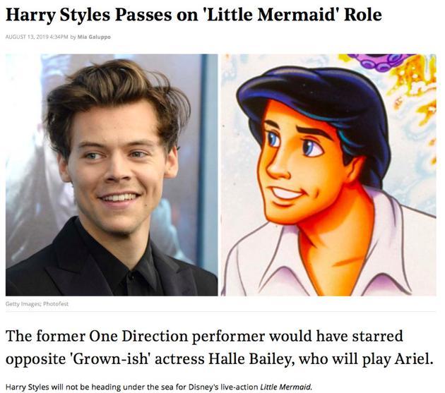 哈里·斯泰尔斯不参演小美人鱼