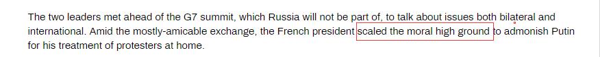"RT称,马克龙""站在道德制高点上""告诫普京如何对待国内抗议者。"