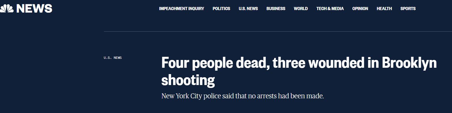快讯!布鲁克林突发枪击案,4死3伤