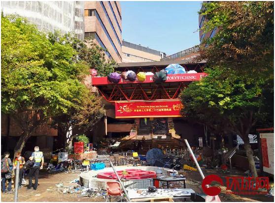 香港理工大学内部被暴徒严重破坏。(环球时报-环球网记者 杨升/摄)