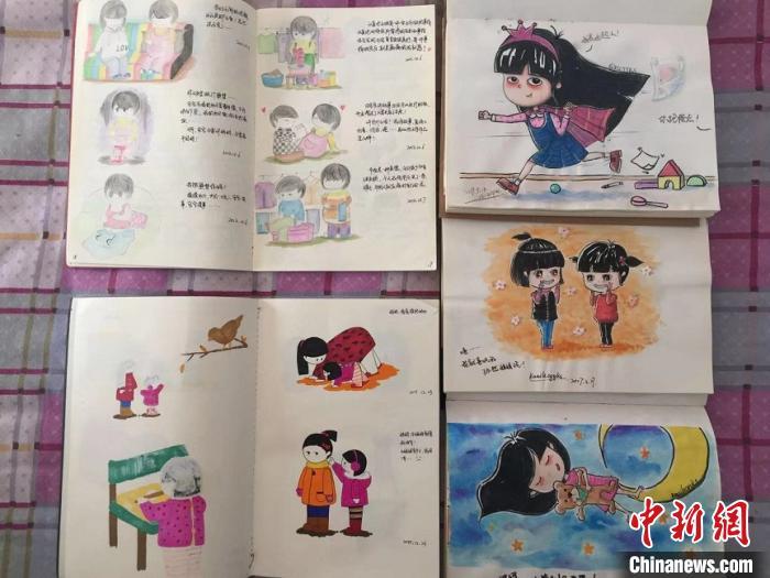 王云霞希望,通过漫画记录女儿每一个人生阶段,让女儿在充满爱的环境中长大。高瑞峰 摄