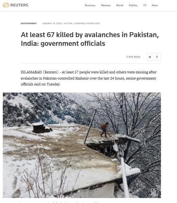 快讯!克什米尔地区发生多次雪崩,已造成至少67人死亡