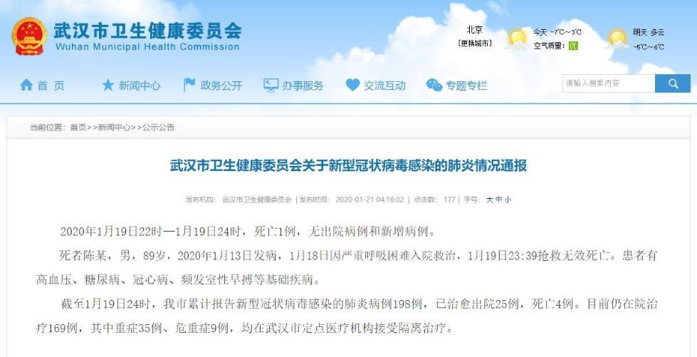 武汉市卫健委发布通报,1月19日22时-1月19日24时,死亡1例,无出院病例和新增病例。