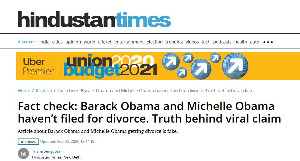 奥巴马和米歇尔离婚是怎么回事?假新闻已经辟谣