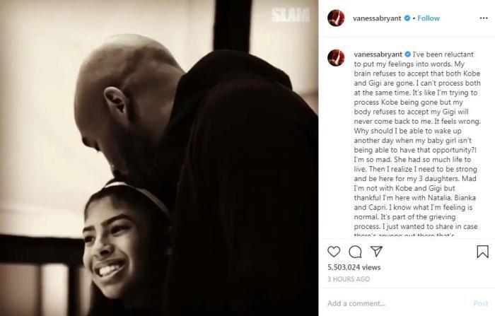科比妻子瓦妮莎再度发声 分享丈夫女儿离世后的心路历程