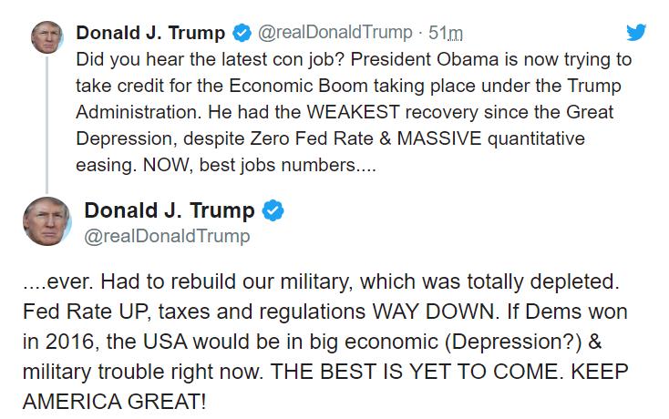 特朗普发布的推文(来源:推特)